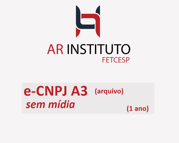 E-CNPJ A3 sem mídia (VALIDADE DE 01 ANO)